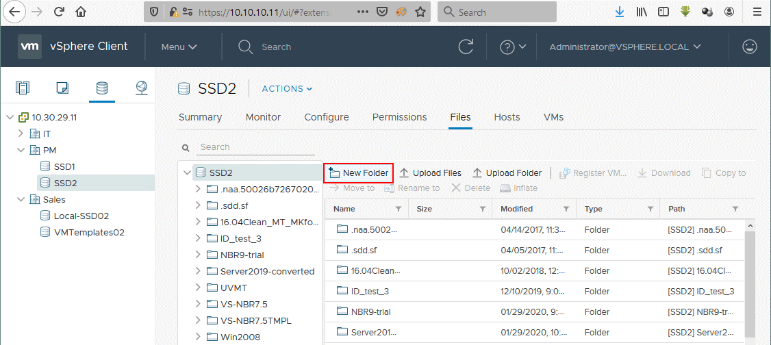 Creating a new folder in the ESXi datastore to upload the exported VMware virtual disk files