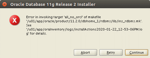 Error in invoking target all_no_orcl of makefile ins_rdbms.mk