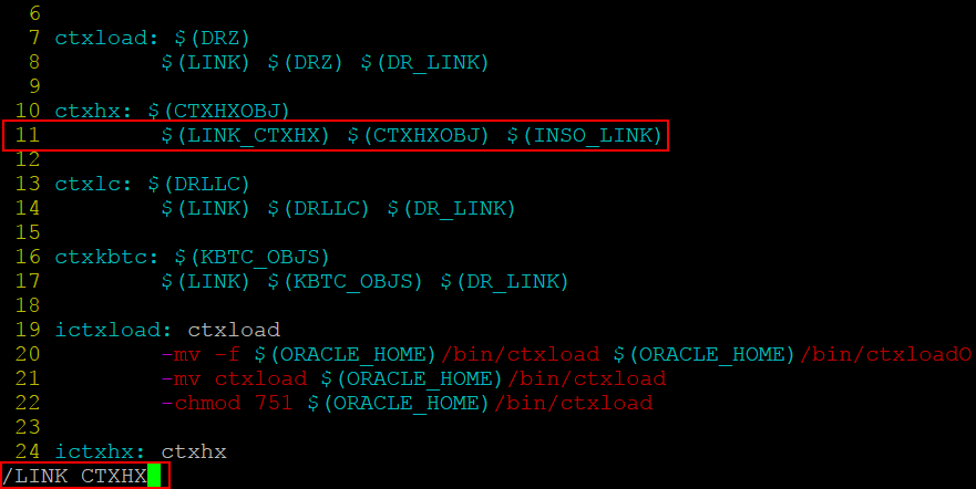 Finding the needed line in the ins_ctx.mk file to fix the Oracle installation error in Ubuntu