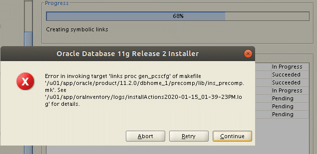 How to install Oracle 11g on Ubuntu 18 – Error in invoking target links proc gen_pcscfg of makefile ins_precomp.mk
