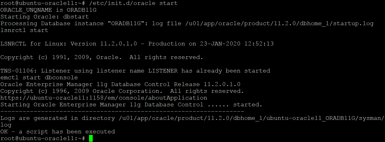 How to install Oracle on Ubuntu – running a startup script for Oracle