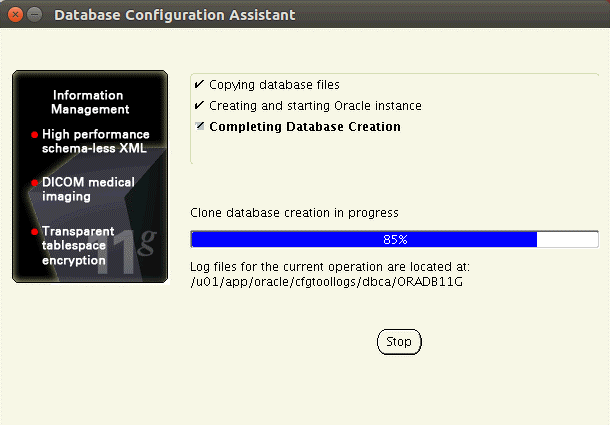 Installing Oracle database on Ubuntu – Oracle Database Configuration Assistant is running