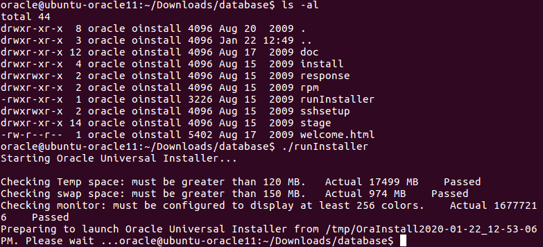 Installing Oracle database on Ubuntu – running the Oracle installer