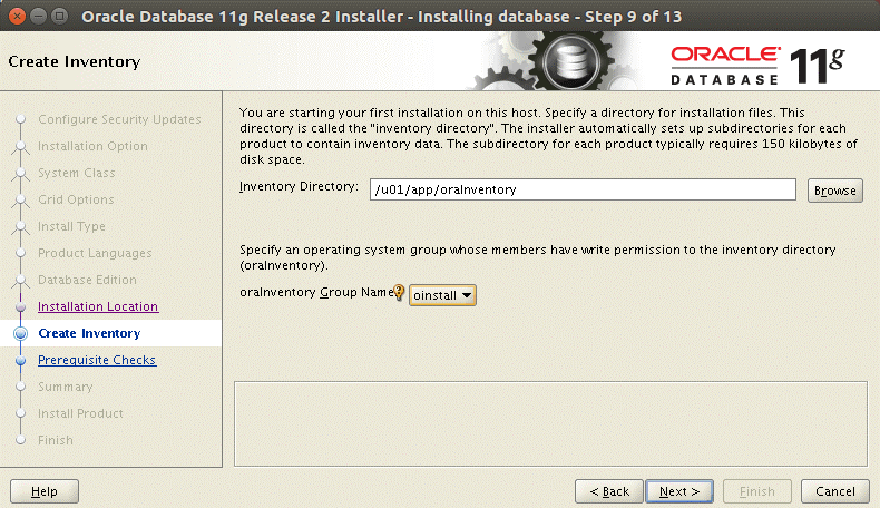 Installing Oracle database on Ubuntu – selecting the Oracle Inventory directory