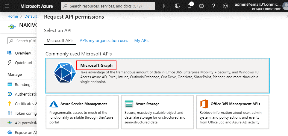 Microsoft Graph is necessary for setting API permissions in Microsoft Azure Active Directory