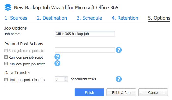 New Office 365 backup job options