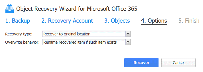 Office 365 recover deleted email – configuring recovery options