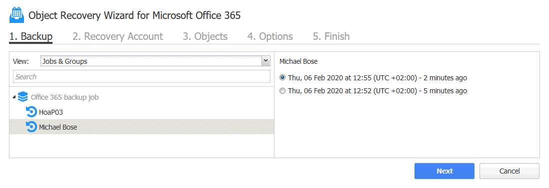 Office 365 recover deleted email – selecting the backed up Office 365 user account