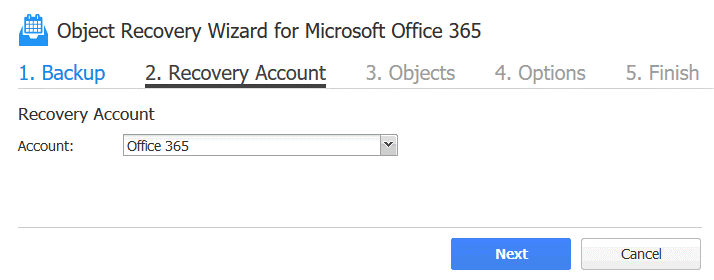 Office 365 recover deleted email – selecting the recovery account