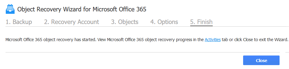 Office 365 recover deleted email – the recovery job is created