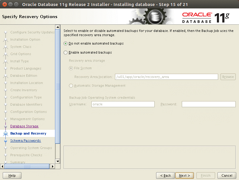 Oracle backup can be configured after installing Oracle database on Ubuntu