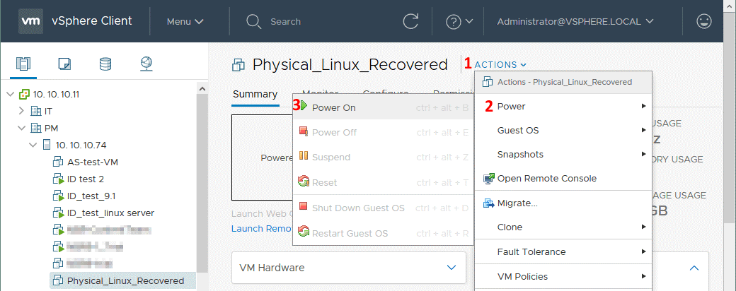 Powering on the VMware VM after conversion