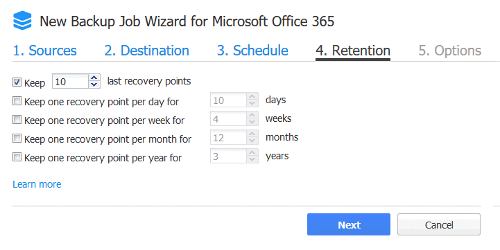 Retention settings