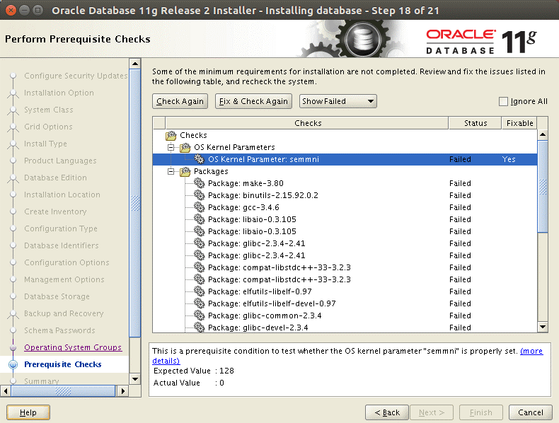 Running prerequisite checks before installing Oracle database on Ubuntu