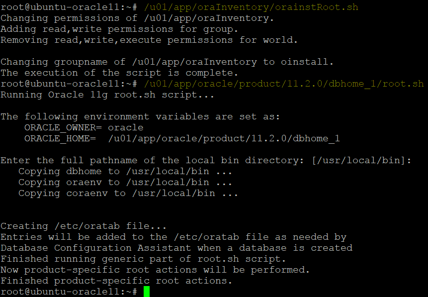 Running scripts to finish installing Oracle database on Ubuntu