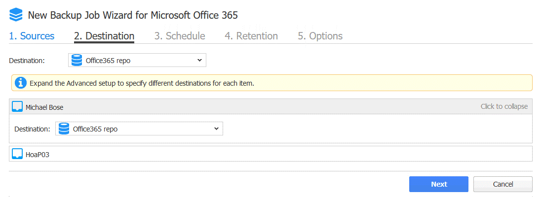Select the destination of an Office 365 user mailbox