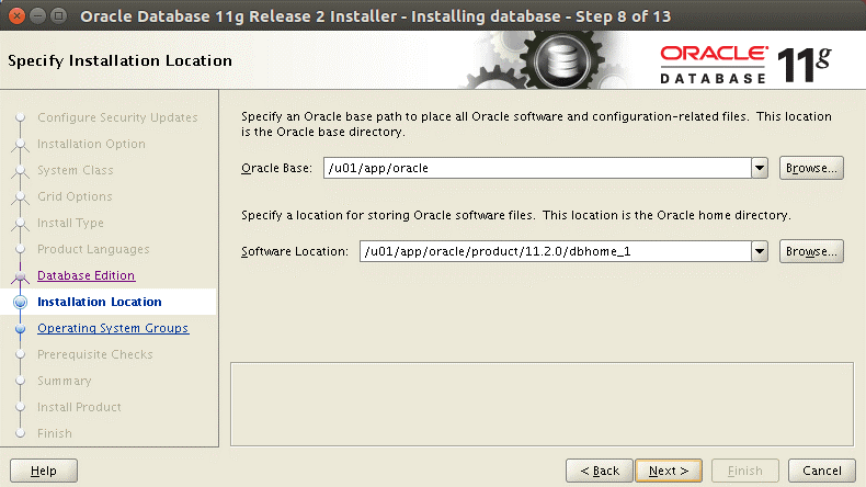 Select the installation location to install Oracle on Ubuntu