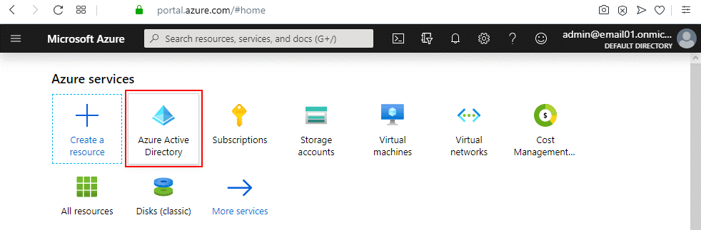 Selecting Azure Active Directory