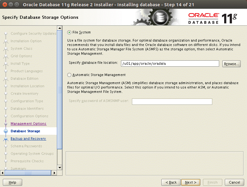 Selecting a database file location on a file system to install Oracle 11g on Ubuntu