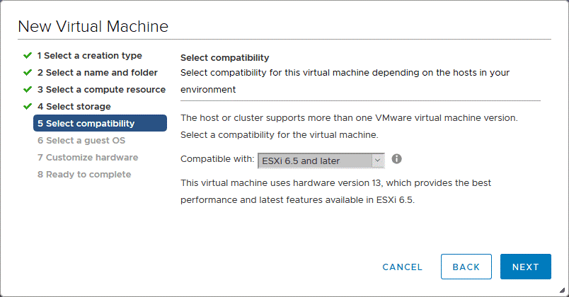 Selecting compatibility for the new VM