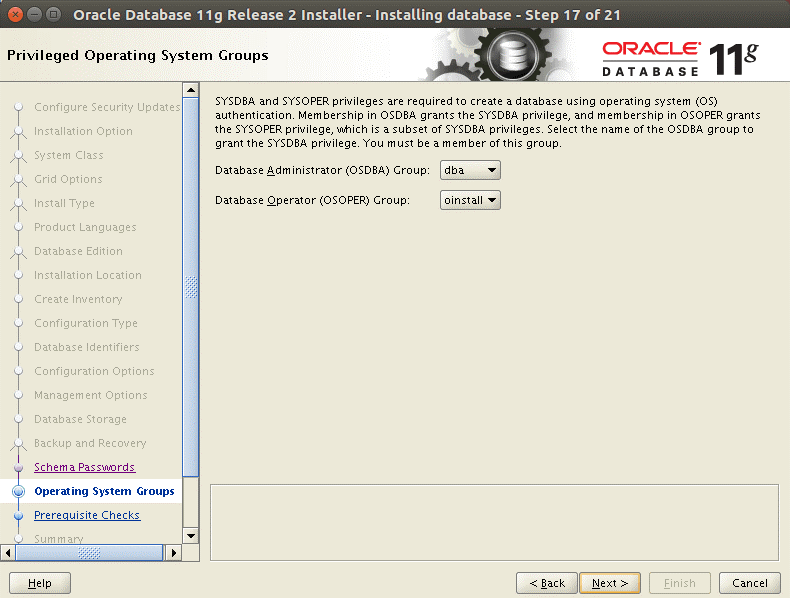 Selecting operating system groups to install Oracle on Ubuntu