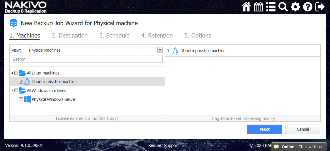 Selecting the Ubuntu physical machine in New Backup Job Wizard for Physical machine