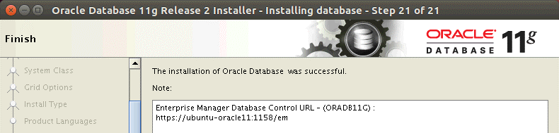 The installation of Oracle Database was successful on Ubuntu Linux