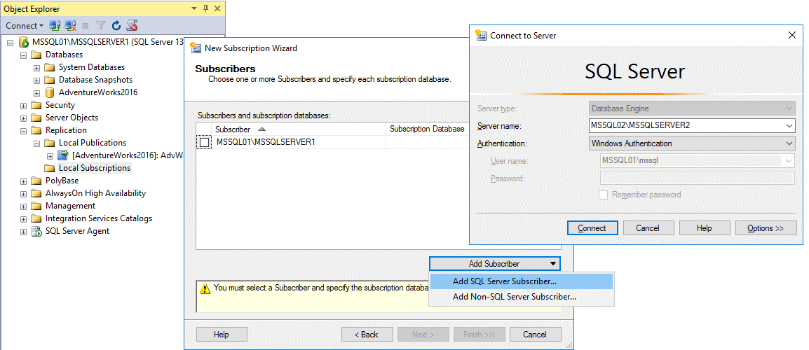 Adding MS SQL Server subscriber