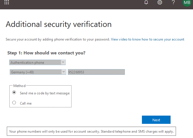 Additional security verification in Office 365