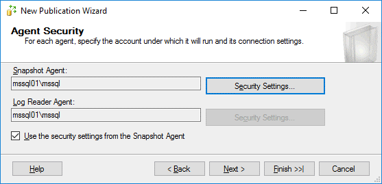 Agent security options are configured