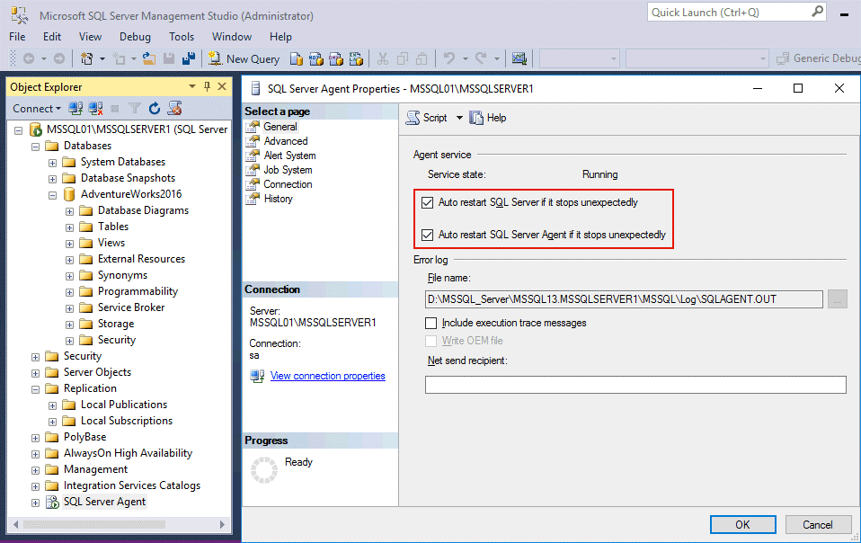 Checking MS SQL Server Agent startup options