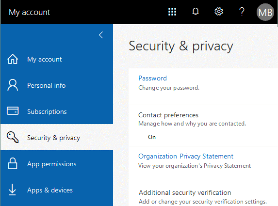 Configuring Security and privacy to set Office 365 app