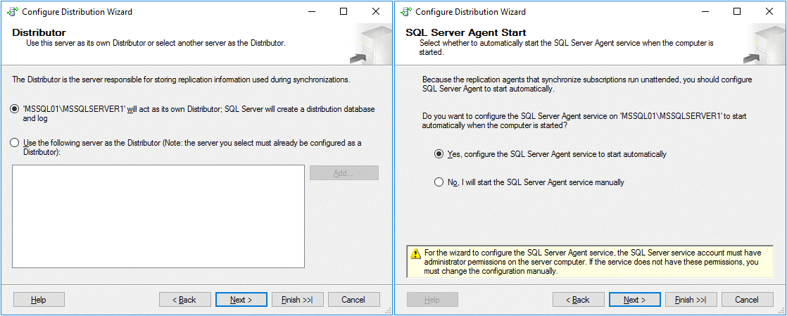 Configuring the Distributor and MS SQL Server Agent service startup options