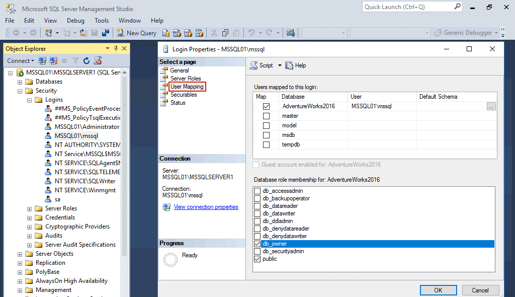 Configuring user mapping on MS SQL Server