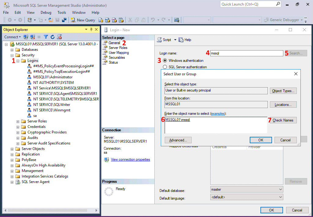 Configuring users and permissions for replication in SQL Server