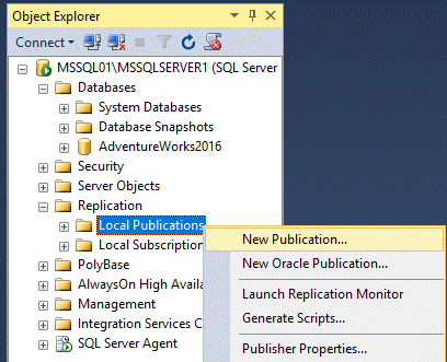 Creating a new publication for MS SQL Server replication