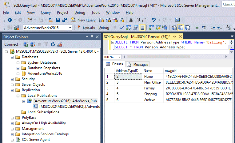 Deleting the line in the table of the master database after configuring MS SQL Server replication