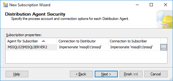 Distribution Agent security settings are configured