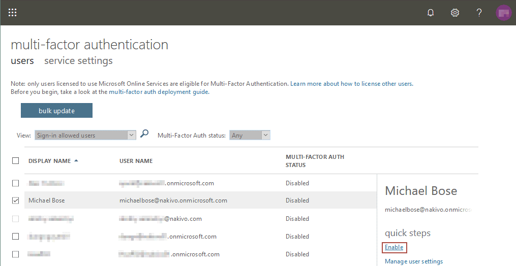 Enabling multi-factor authentication in Office 365