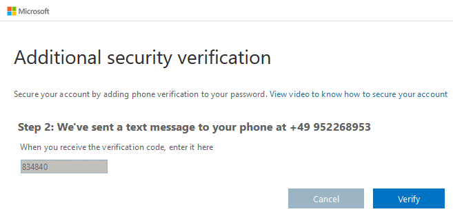 Entering a confirmation code sent via SMS