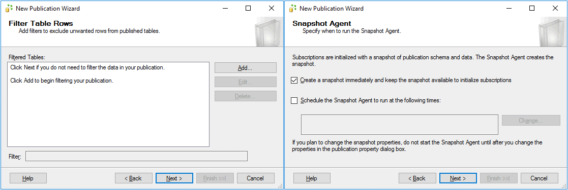 Filter options and Snapshot Agent options