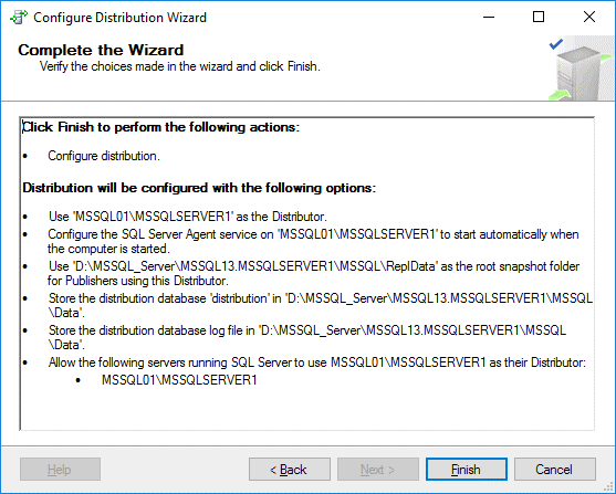 Finishing configuring distribution for MS SQL Server replication