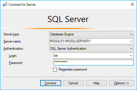 Log into MS SQL Server instance by using SQL Server authentication