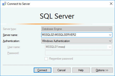 Log into MS SQL Server instance by using Windows authentication