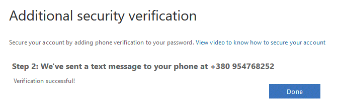 Office 365 account verification is successful
