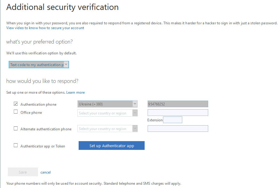 Office 365 additional security verification options