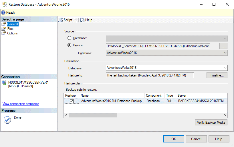 Restoring a sample database in MS SQL Server