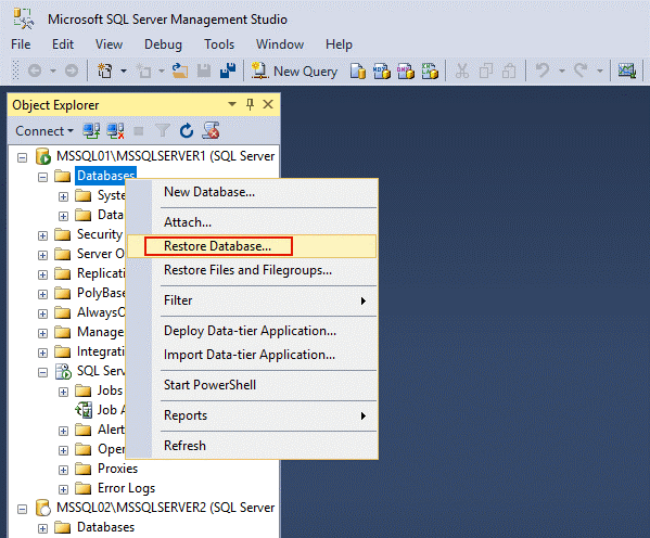 Restoring a sample database to reveal MS SQL Server replication configuration