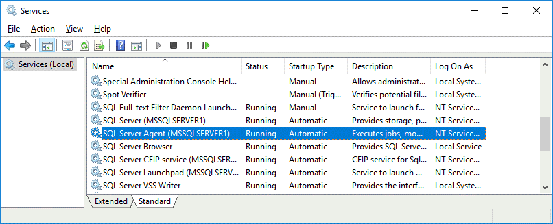 SQL Server Agent is running and starts automatically after Windows boot