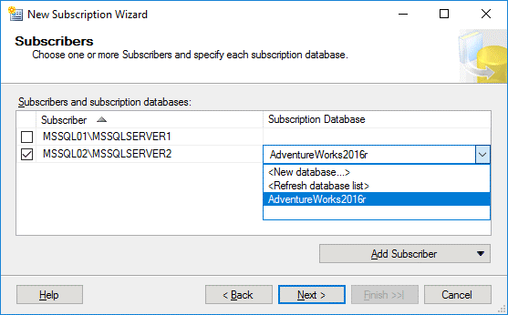 Selecting a subscriber and a subscription database for MS SQL Server replication
